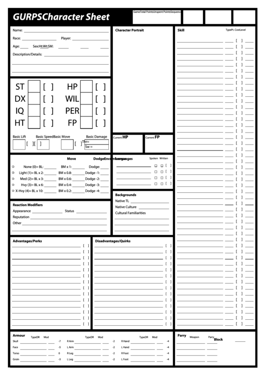 gurps character sheet printable pdf download