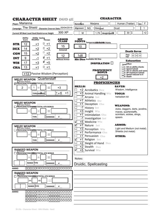 picture relating to Dnd 5e Printable Character Sheet named Dd 5e Persona Sheet printable pdf down load