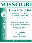 Form Mo-1040p - Property Tax Credit/pension Exemption Short Form - 2011