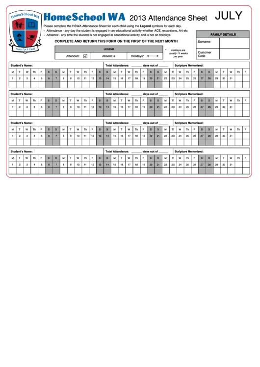 Attendance Sheet - 2013