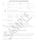 Application For Membership - Sample