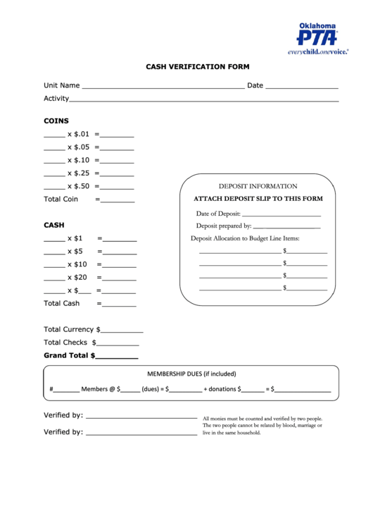 cash verification form