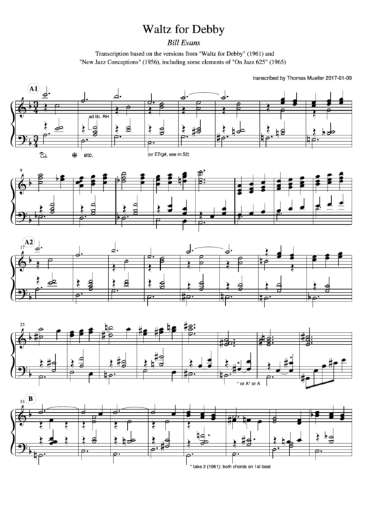Bill Evans - Waltz For Debby Sheet Music Printable pdf