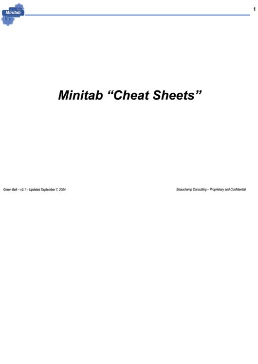 Minitab Cheat Sheets Printable pdf