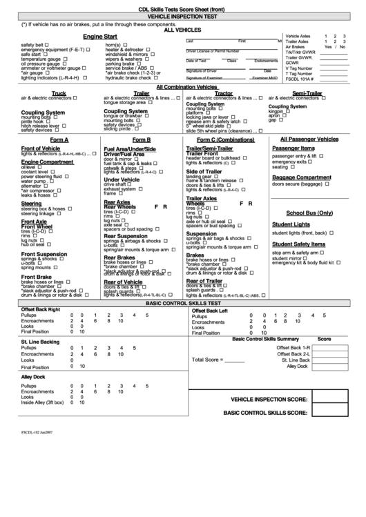 cdl skills tests score sheet