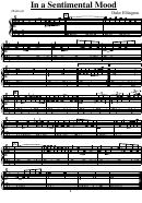 Duke Ellington - In A Sentimental Mood Music Sheet