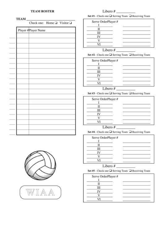 picture relating to Printable Volleyball Score Sheet named Wiaa Volleyball Workers Roster Sheet printable pdf obtain