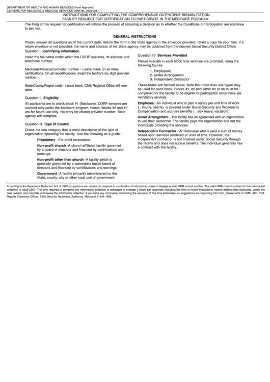form certification medicare cms corf participate report printable pdf