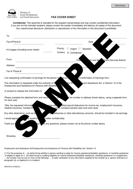 Form Hr2181a - Fax Cover Sheet