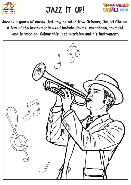 Jazz Musician Coloring Sheet