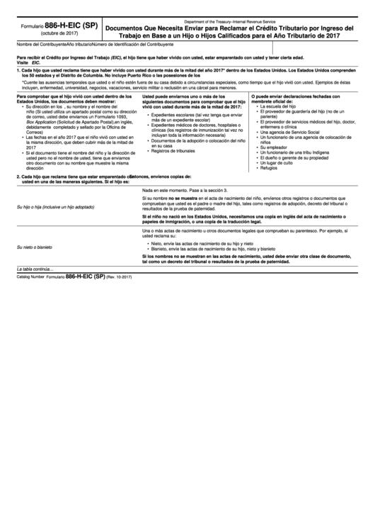 Fillable Formulario 886-H-Eic (Sp) - Documentos Que Necesita Enviar Para Reclamar El Credito Tributario Por Ingreso Del Trabajo En Base A Un Hijo O Hijos Calificados Para El Ano Tributario De 2017 (Spanish Version) Printable pdf