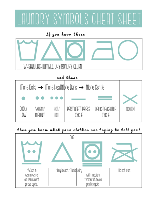 Laundry Symbols Cheat Sheet printable pdf download
