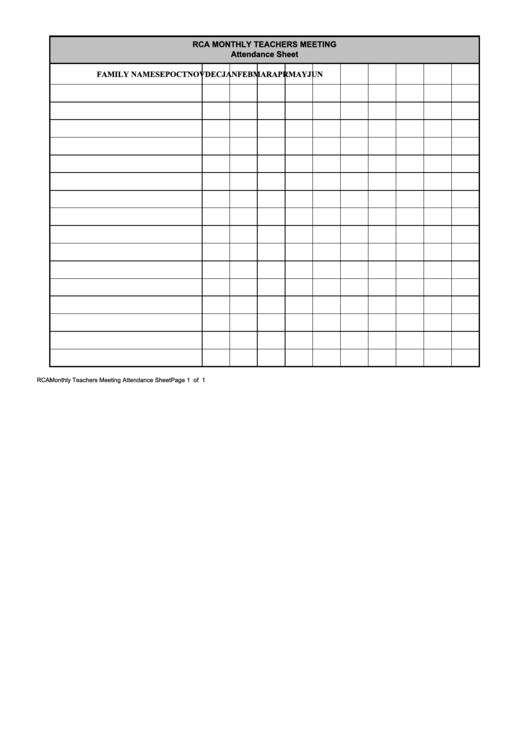 Rca Monthly Teachers Meeting Attendance Sheet