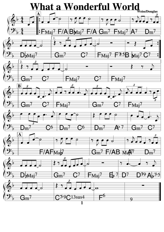 What A Wonderful World Music Sheet