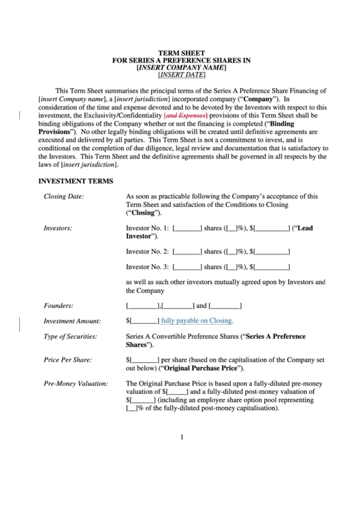 Term Sheet For Series A Preference Shares In Printable pdf