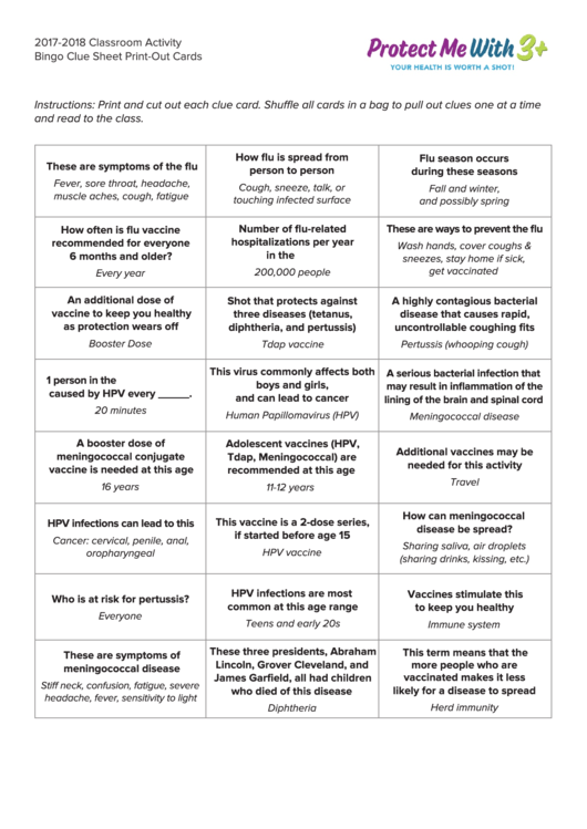 2017-2018 Classroom Activity Bingo Clue Sheet Print-out Cards Chart