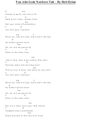 Bob Dylan - You Aint Goin Nowhere Guitar Chord Chart