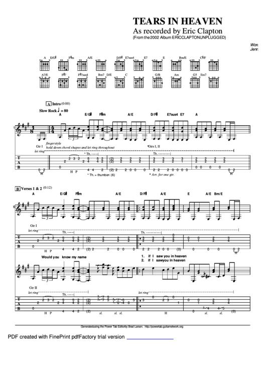 tears in heaven sheet music pdf