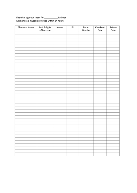 Chemical Sign-out Sheet