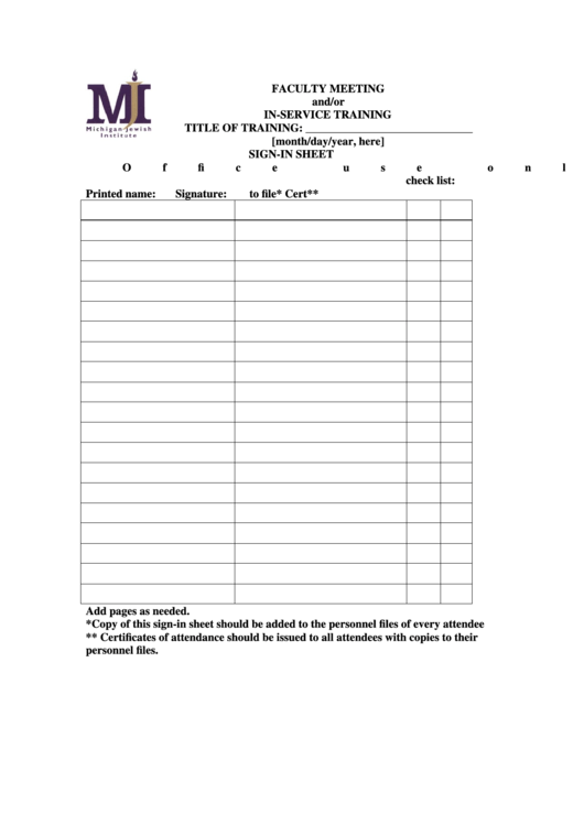 top inservice sign in sheets free to download in pdf format