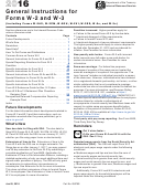 Instructions For Forms W-2 And W-3 - Wage And Tax Statement And Transmittal Of Wage And Tax Statements - 2016