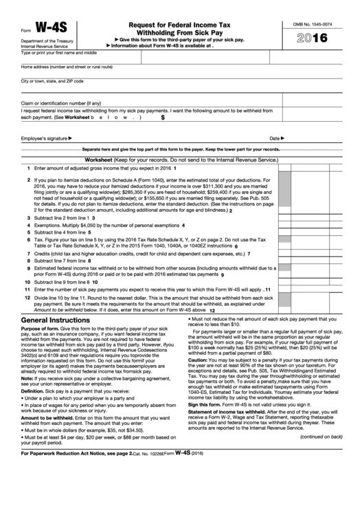 Fillable Form W-4s - Request For Federal Income Tax Withholding From Sick Pay - 2016 Printable pdf
