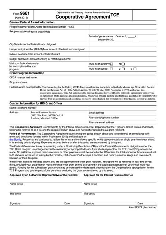 Fillable Form 9661 - Cooperative Agreement Printable pdf