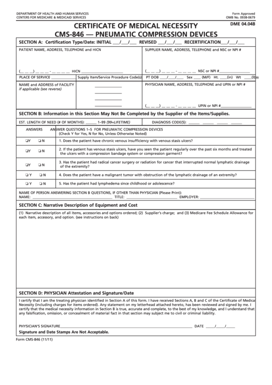 Form Cms-846 - Certificate Of Medical Necessity - Pneumatic Compression Devices Dme 04.04b Printable pdf