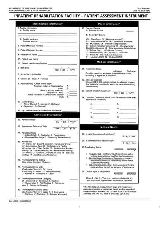 Form Cms 10036 Inpatient Rehabilitation Facility Patient