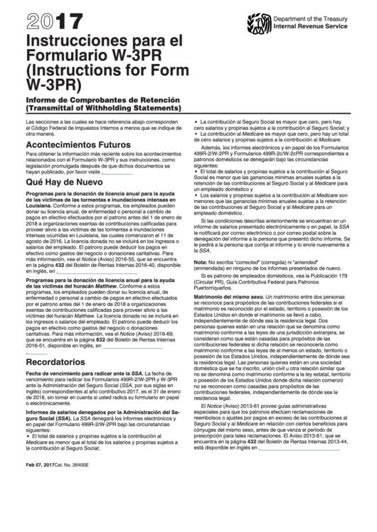 Instrucciones Para El Formulario W-3pr, Informe De Comprobantes De Retencion Printable pdf