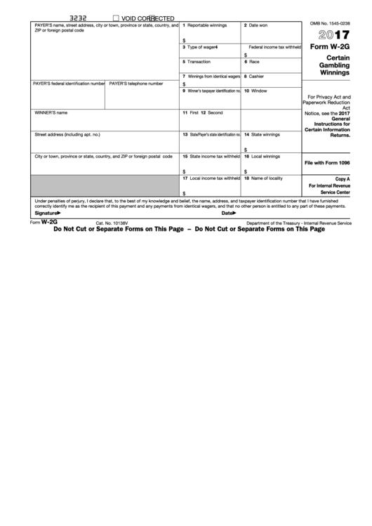 Fillable Form W-2g - Certain Gambling Winnings - 2017 Printable pdf