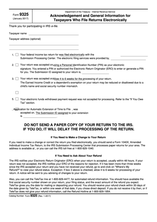 Fillable Form 9325 - Acknowledgement And General Information For Taxpayers Who File Returns Electronically Printable pdf