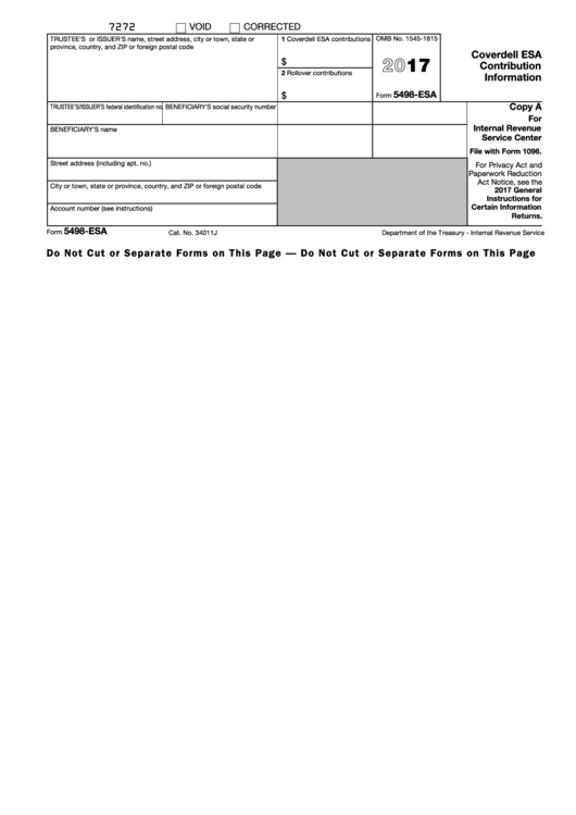 Fillable Form 5498-Esa - Coverdell Esa Contribution Information - 2017 Printable pdf