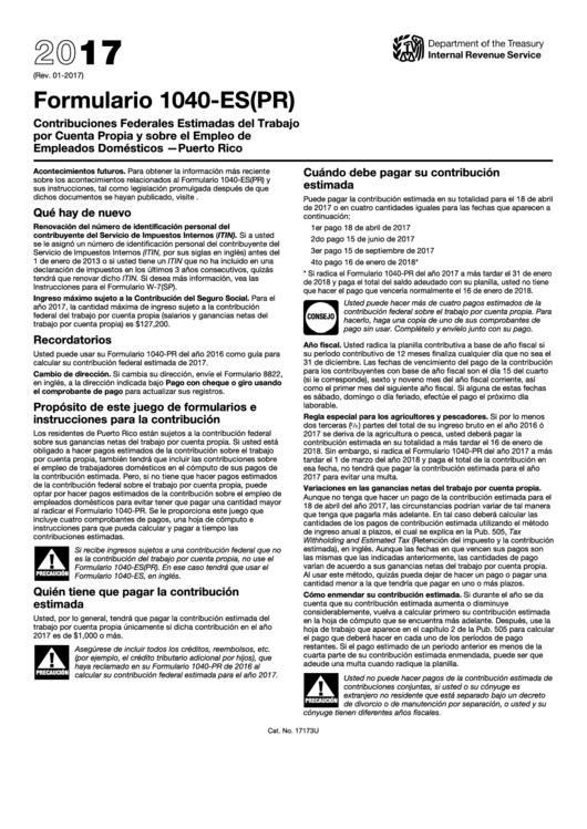 Fillable Formulario 1040-Es(Pr) - Contribuciones Federales Estimadas Del Trabajo Por Cuenta Propia Y Sobre El Empleo De Empleados Domesticos-Puerto Rico (Spanish Version) - 2017 Printable pdf