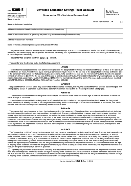 Fillable Form 5305-E - Coverdell Education Savings Trust Account (Under Section 530 Of The Internal Revenue Code) Printable pdf