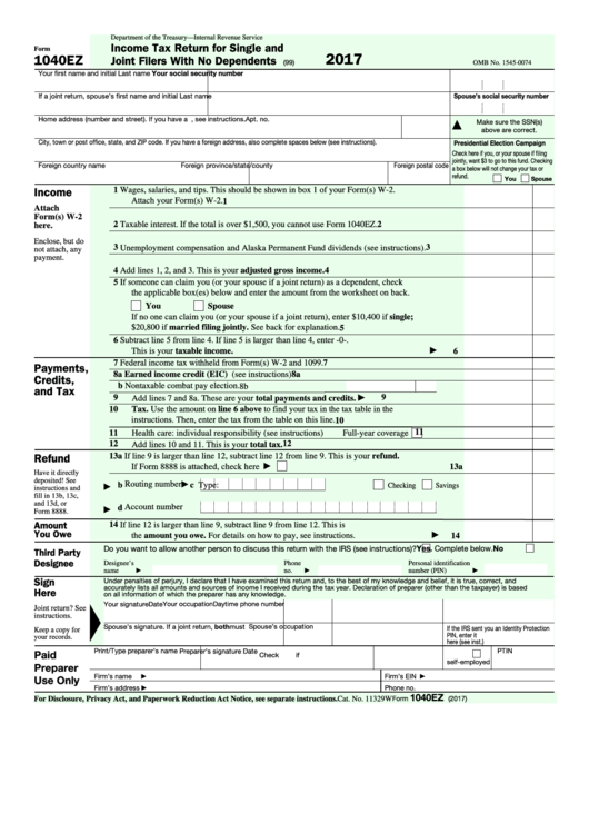 Fillable Form 1040-Ez - Income Tax Return For Single And Joint Filers With No Dependents - 2016 Printable pdf