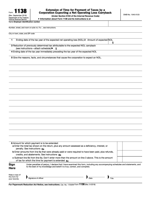 Fillable Form 1138 - Extension Of Time For Payment Of Taxes By A Corporation Expecting A Net Operating Loss Carryback Printable pdf