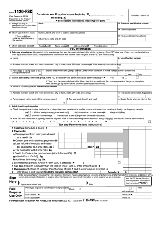 Fillable Form 1120-Fsc - U.s. Income Tax Return Of A Foreign Sales Corporation Printable pdf
