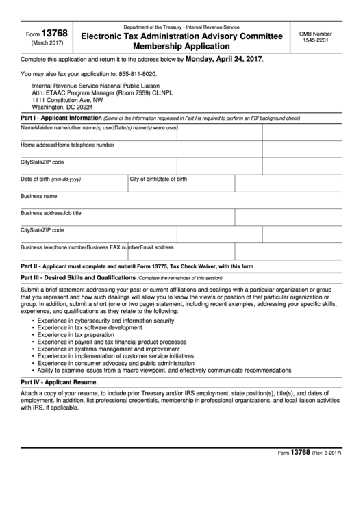 Fillable Form 13768 - Electronic Tax Administration Advisory Committee Membership Application Printable pdf