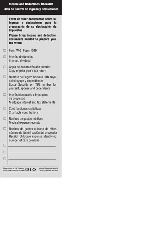 Form 13690 (En/sp) - Income And Deductions Checklist (English/spanish) Printable pdf
