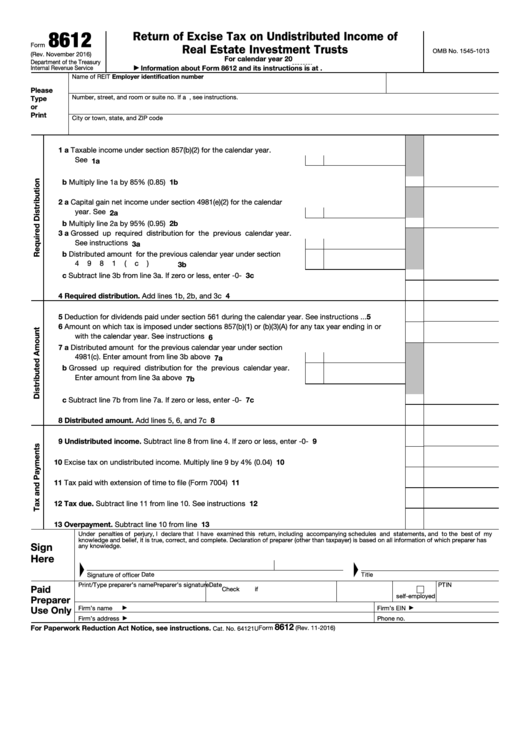 Fillable Form 8612 - Return Of Excise Tax On Undistributed Income Of Real Estate Investment Trusts Printable pdf
