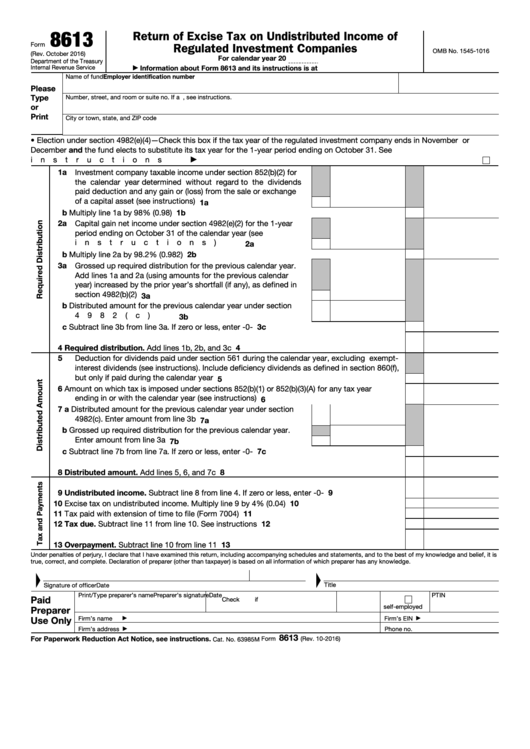 Fillable Form 8613 - Return Of Excise Tax On Undistributed Income Of Regulated Investment Companies Printable pdf