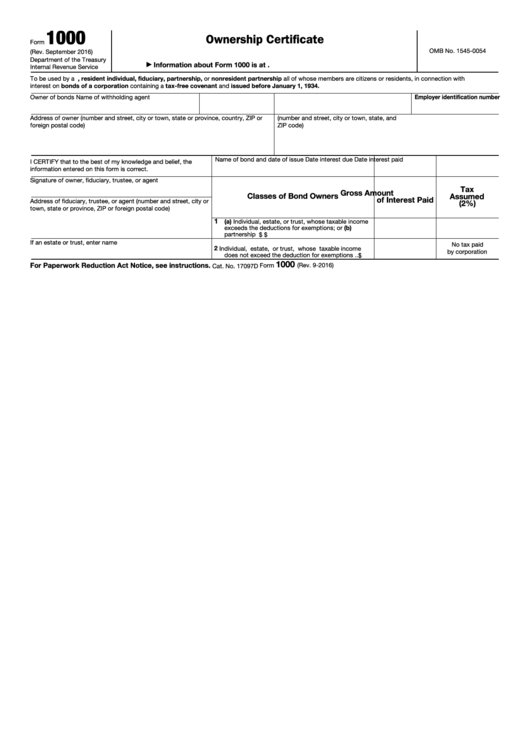 Fillable Form 1000 - Ownership Certificate Printable pdf