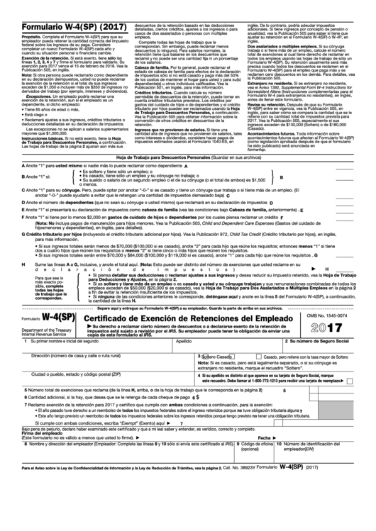 Fillable Formulario W-4(Sp) - Certificado De Exencion De Retenciones Del Empleado (Spanish Version) - 2017 Printable pdf