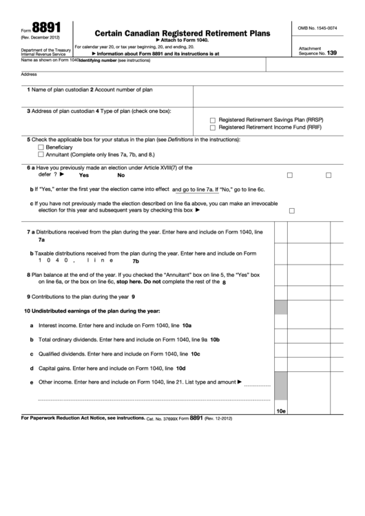 Fillable Form 8891 - U.s. Information Return For Beneficiaries Of Certain Canadian Registered Retirement Plans Printable pdf