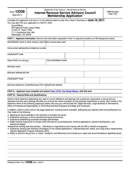 Fillable Form 12339 - Internal Revenue Service Advisory Council-Membership Application Printable pdf