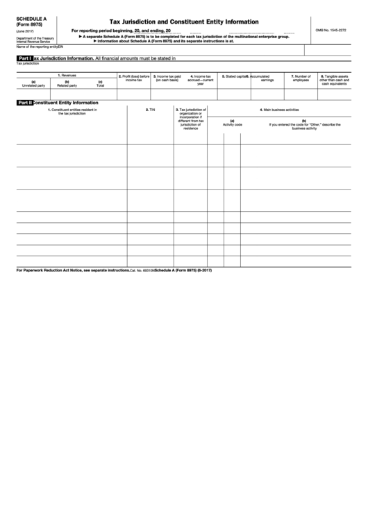 Fillable Schedule A (Form 8975) - Tax Jurisdiction And Constituent Entity Information Printable pdf