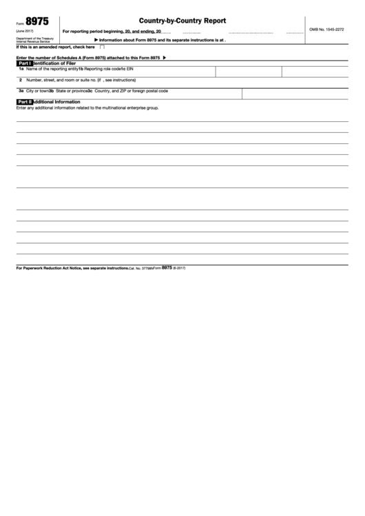 Fillable Form 8975 - Country By Country Report Printable pdf