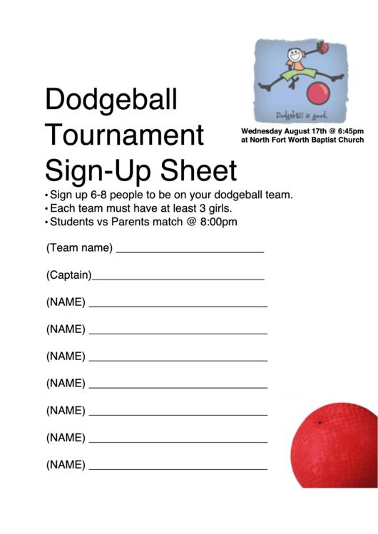 Dodgeball Tournament Sign-up Sheet