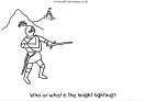 Who Or What Is The Knight Fighting Coloring Sheet